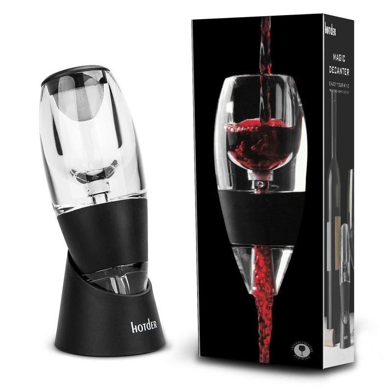 Hotder Wine Aerator Pourer Diffuser Decanter Spout with Base for Red Wine Christmas Gift,Home use And Party,Black