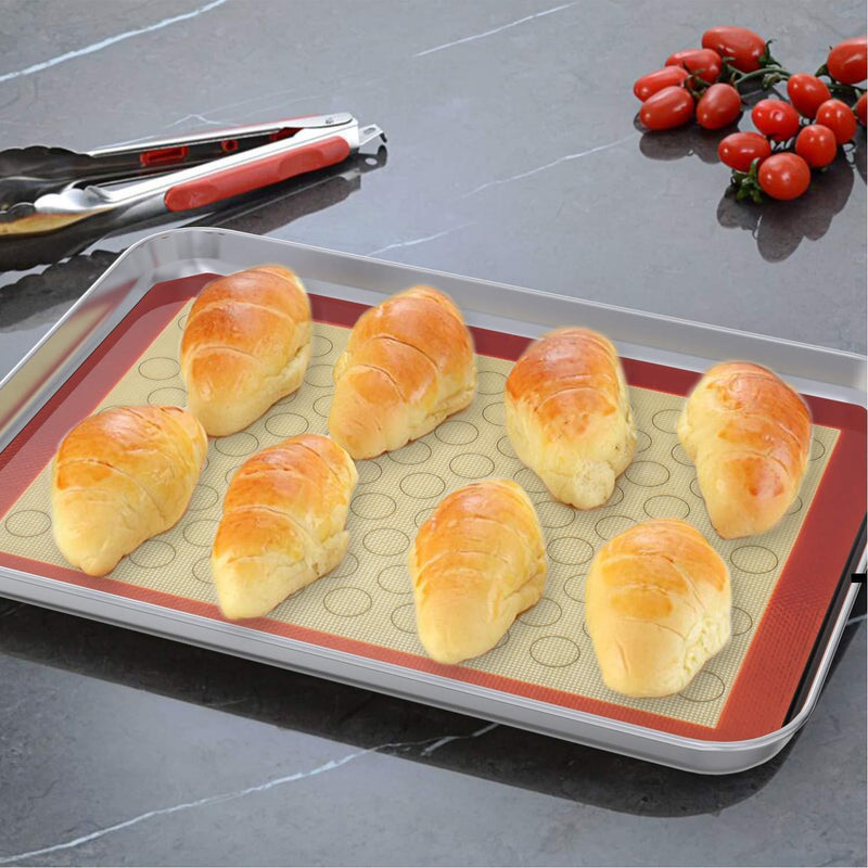 Baking Sheet with Silicone Baking Mat, Set of 8 (4 Sheets + 4 Baking Mats), Fungun Stainless Steel Cookie Sheet Baking Pan with Silicone Mat, Non Toxic & Heavy Duty & Easy Clean