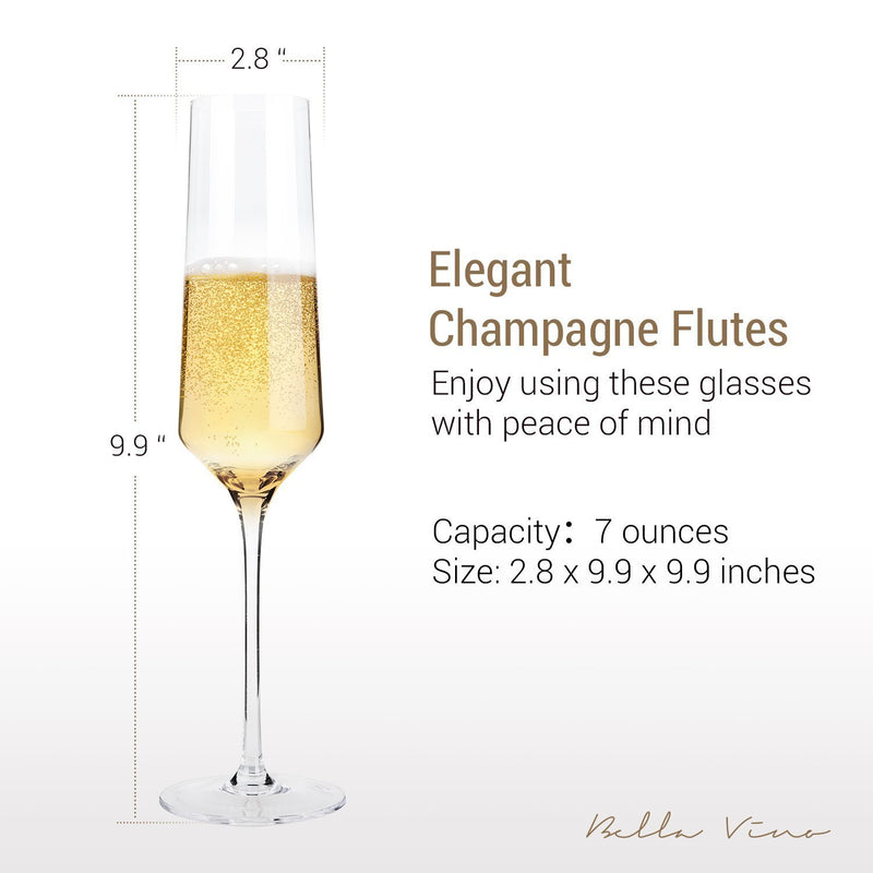 "Hand Blown Crystal Champagne Flutes - Bella Vino Elegant Champagne Glasses Made from 100% Lead Free Premium Crystal Glass,Perfect for Any Occasion,Great Gift, 10"", 7 Oz, Set of 2, Clear"