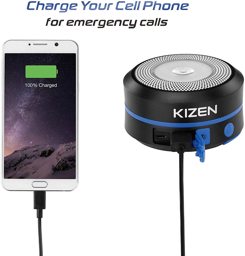 Kizen Solar Powered LED Camping Lantern - Solar or USB Chargeable, Collapsible Space Saving Design, Emergency Power Bank, Flashlight, Water Resistant.