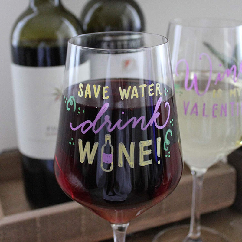 VersaChalk Washable Wine Glass Markers- 7 Vibrant Erasable Colors to Write on Party Cups, Drink Glasses, Beer Mugs, Clear Plastic Jars, Windows, and Mirrors