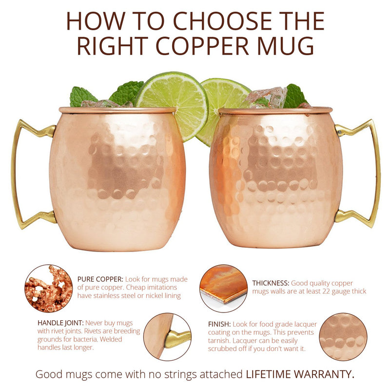 Kitchen Science Moscow Mule Copper Mugs 16 Ounce with 8 Straws and Jigger Set