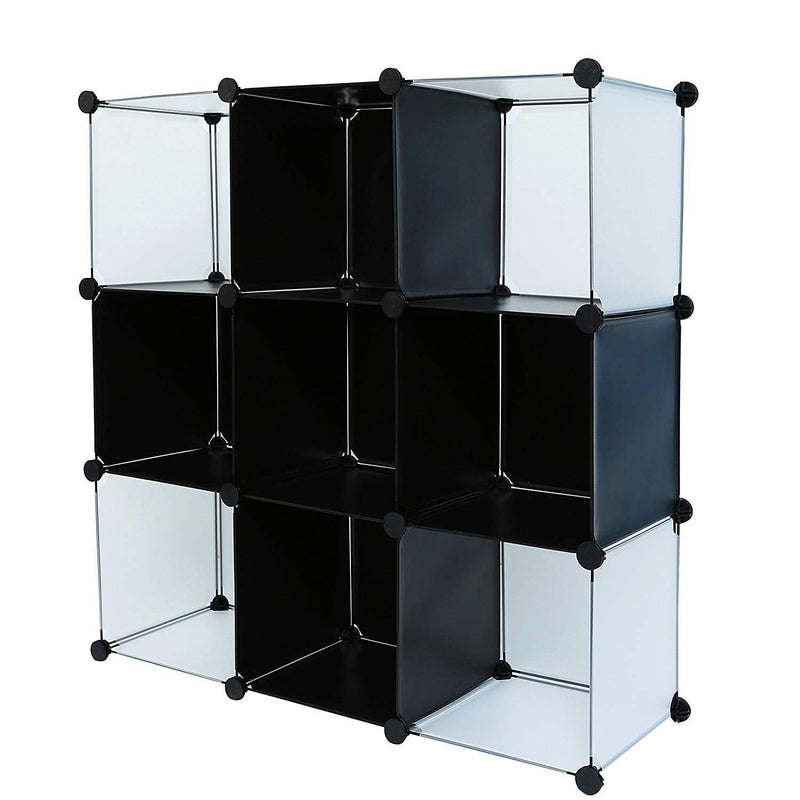 C&AHOME 8 Cube Storage Organizer Toy Rack Cabinet Wardrobe DIY Black Closet with White Doors
