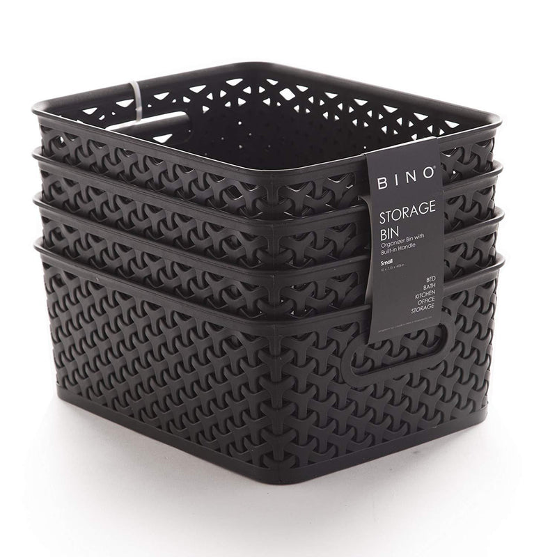 BINO Woven Plastic Storage Basket, Small – 4 Pack (Black)