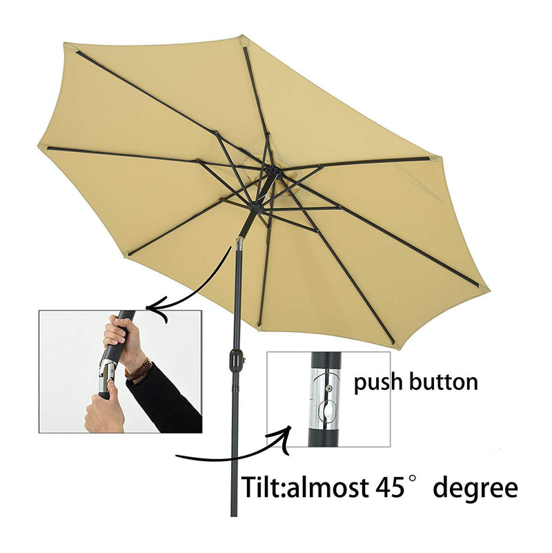 PATIO WATCHER 9-Ft Aluminum Patio Umbrella with Push Button Tilt and Crank, 250 GSM Fabric,8 Ribs, Beige