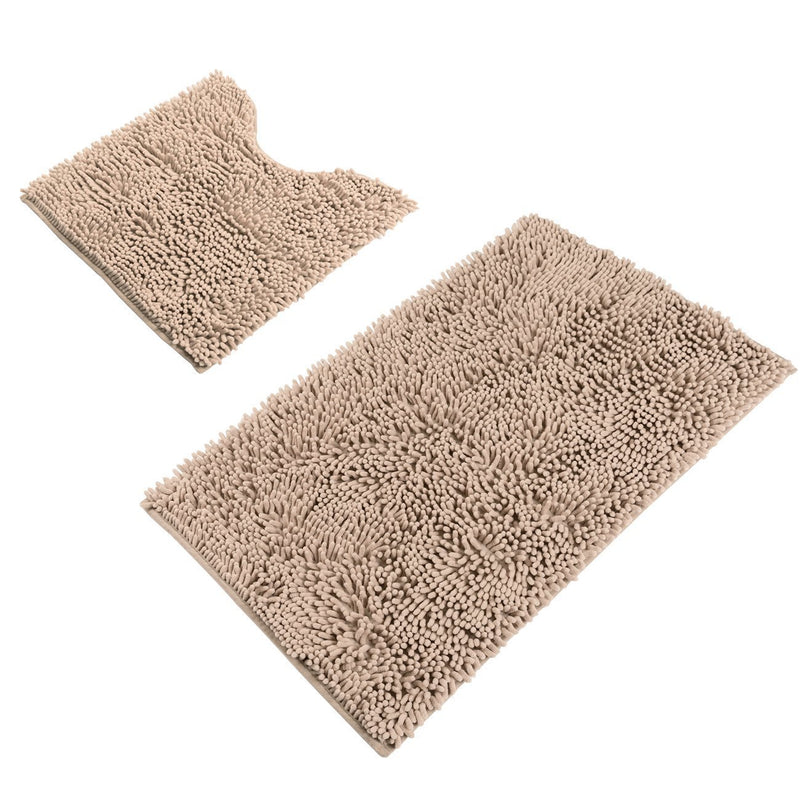 "Sunnyglade Bathroom Contour Rugs Combo, Set of 2 Chenille Fabric Microfiber Soft Shaggy Non Slip 21"" X 34"" Bath Shower Mat and 20"" X 20"" U-shaped Toilet Floor Rug Bathroom Carpet"