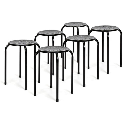 Best Choice Products Set Of 6 Backless Round Top Metal Stools (Black)