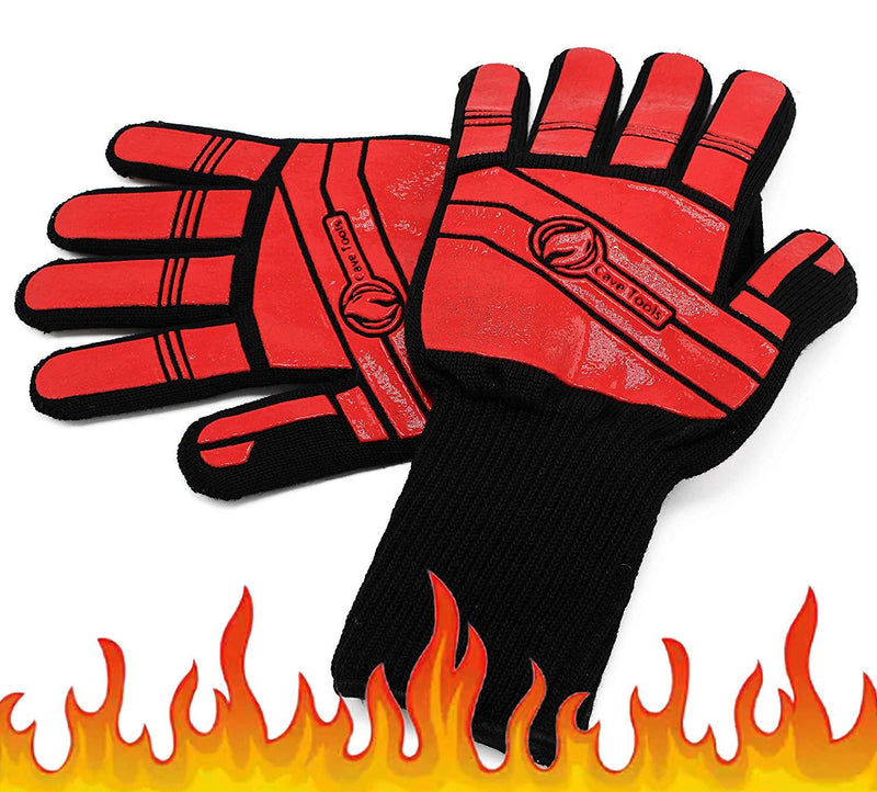 Grill Beast BBQ Glove Oven Mitts - Max Heat Resistant Grill & Cooking Pot Holders Set with Silicone & Aramid Kevlar