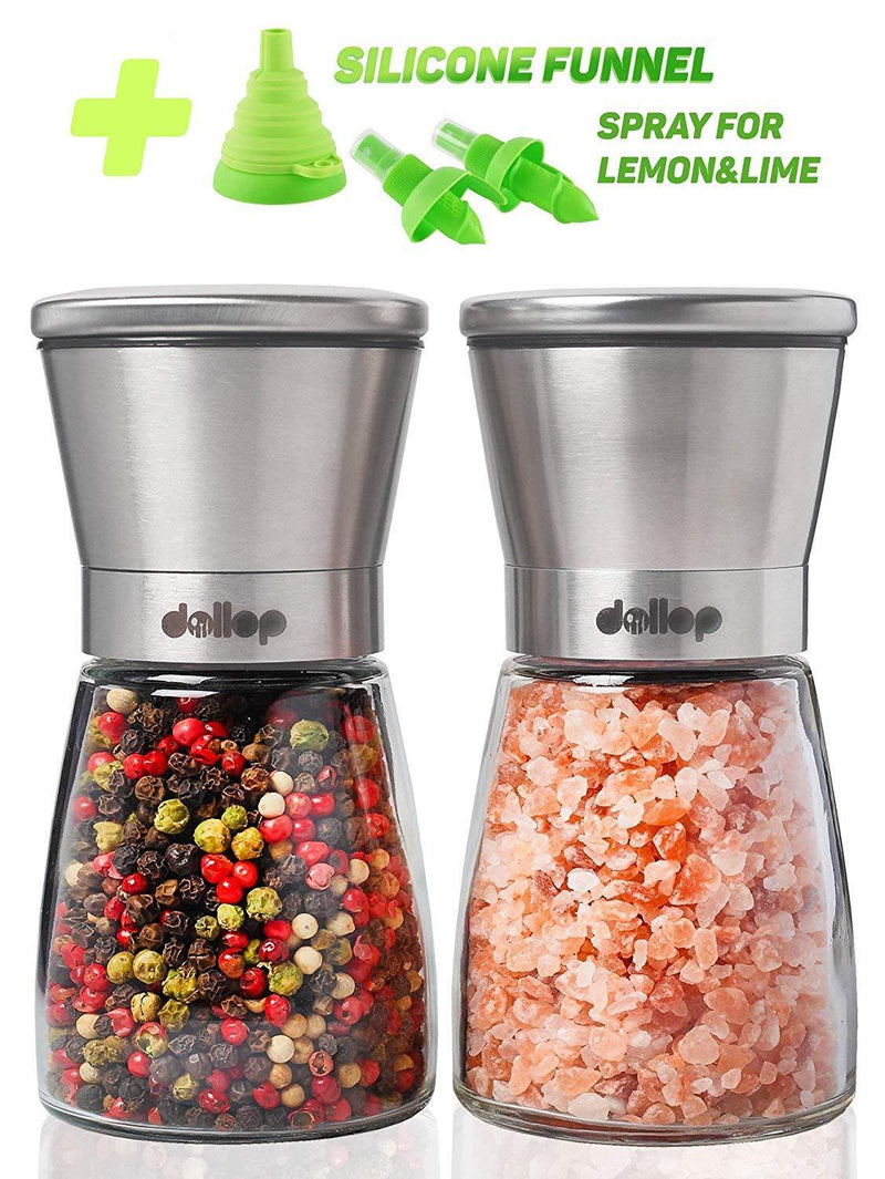 Salt & Pepper Grinder Set – Salt & Pepper Shakers with lid - brushed stainless steel Pepper Mill and Salt Mill - Adjustable Ceramic Rotor - Glass body - Silicone funnel collapsible & 2 citrus sprayer