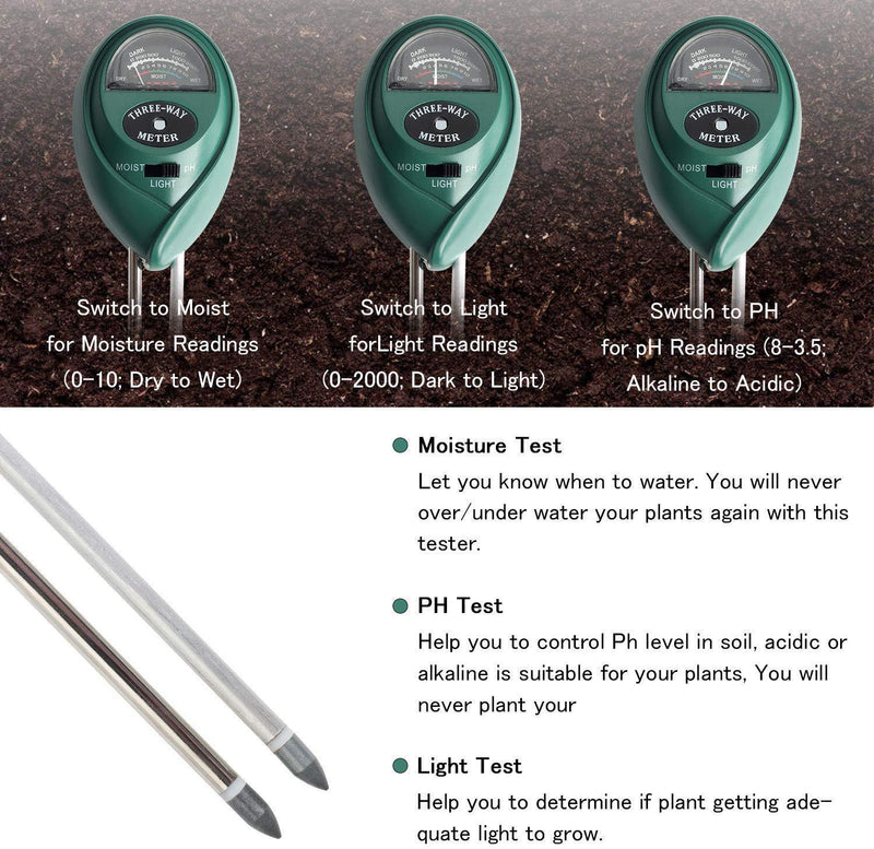 Soil Test Kit,Besmon 3-in-1 Soil Ph Meter,Soil Moisture Meter Indoor/Outdoor Plant Care Soil Tester Light and PH MeterFor Plant
