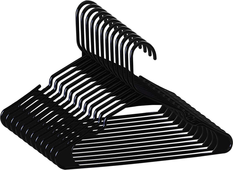 Zoyer Standard Plastic Hangers - Durable and Strong - Black (50)