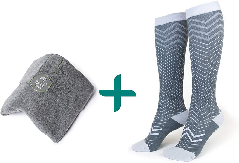 trtl Pillow & Trtl Socks Bundle - Scientifically Proven Super Soft Neck Support Travel Pillow & Trtl Compression Socks (Grey Pillow & Seattle Socks Size Small)