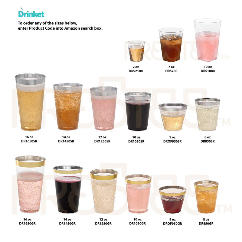 Clear Plastic Cups | 9 oz. 100 Pack | Hard Disposable Cups | Plastic Wine Cups | Plastic Cocktail Glasses | Plastic Drinking Cups | Small Plastic Party Punch Cups | Bulk Party Wedding Tumblers