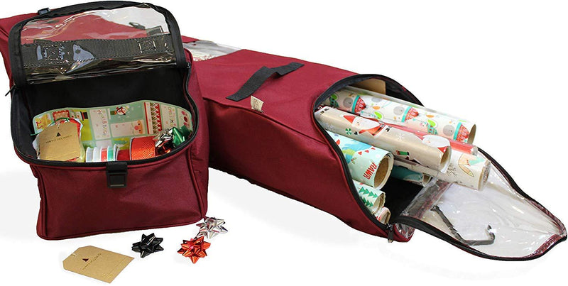 612 Vermont Over The Door Wrapping Paper Storage Container, Bag Holds 12 Rolls of Paper up to 40 Inches Tall, Accessory Compartment for Ribbon and Bow Storage