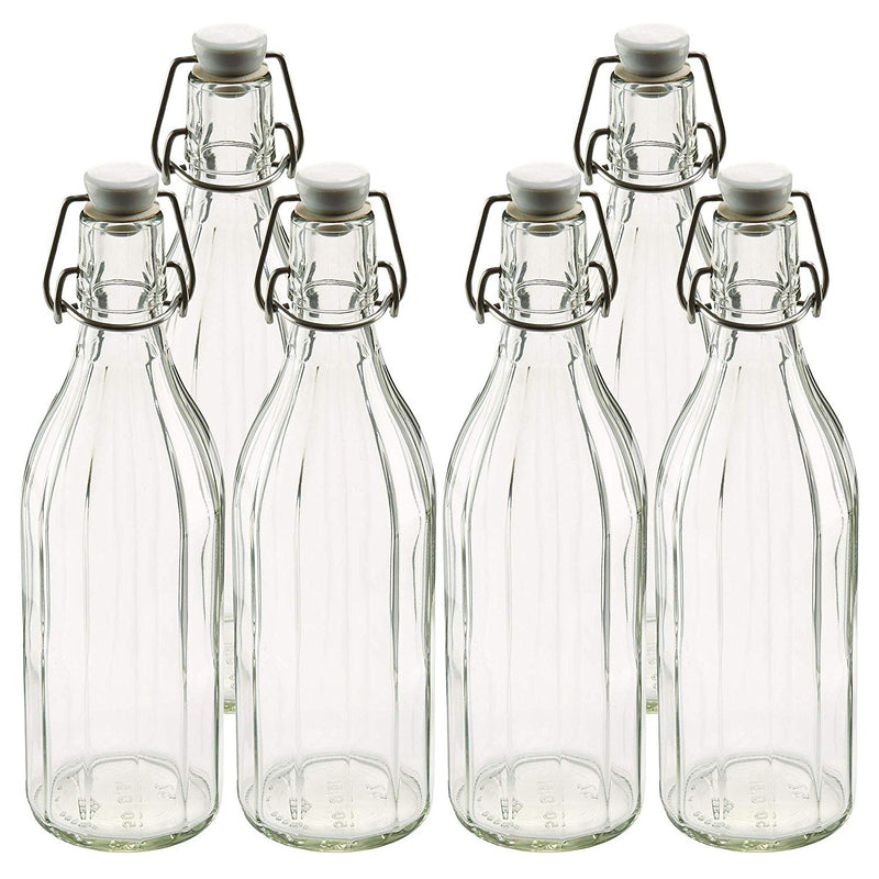 Leifheit 03180AZ 6 Pack of Reusable Glass Bottles with Shackle Lock Stopper | Clear