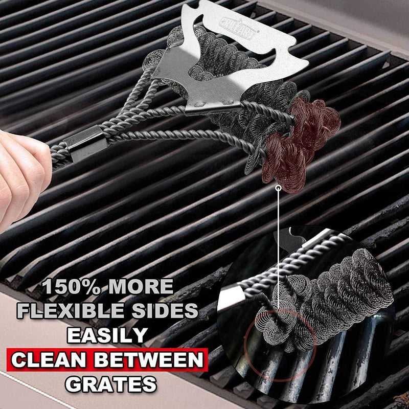 Grill Brush Bristle Free & Scraper - Safe BBQ Brush for Grill - Non Wire Stainless Grill Cleaner/Cleaning Brush - Best Rated BBQ Accessories Scrubber - Safe for Porcelain/Weber Gas/Charbroil Grates by GRILLART