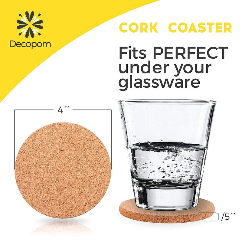 "Natural Cork Coasters With Round Edge 4 inches 16pc Set with Metal Holder Storage Caddy – 1/5"" Thick Plain Absorbent Heat-Resistant Reusable Saucers for Cold Drinks Wine Glasses Plants Cups & Mugs"