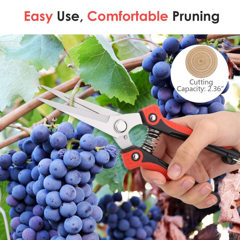 Housolution Pruning Shears, Heavy Duty Stainless Steel Ultra Sharp Multi-purpose Hand Pruner Scissors for Garden Harvesting Fruits & Vegetables, Trimming Pklants Flowers, Black & Red