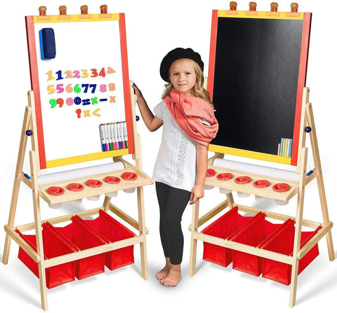 Kids Easel with Paper Roll +FREE Kids Art Supplies - Double Sided Childrens Easel Chalkboard / Magnetic Dry Erase Board - Toddler Easel by Evergreen Art Supply