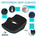 Gideon™ Premium Orthopedic Seat Cushion for Office Chair, Car, Truck, Plane, Wheelchairs, etc. - Provides Relief for Lower Back Pain, Tailbone, Coccyx, Sciatica, Pelvic Pain, Prostate, etc.