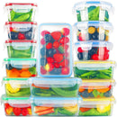 Food Storage Containers with Lids, KOMUEE 15 PACK Plastic Food Containers with lids - Plastic Containers with lids - Airtight Leak Proof Easy Snap Lock and BPA Free Plastic Container Set