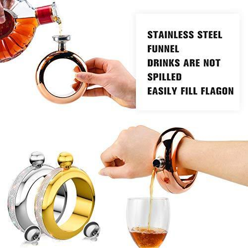 BOKIN Bracelet Bangle Flask 304 Stainless Steel Wine/Alcohol Wrist Flasket with Handmade Rhinestone Lid, Funnel in Gift Box For Women Girls Dance Birthday Party Club Bar 3.5oz Silver