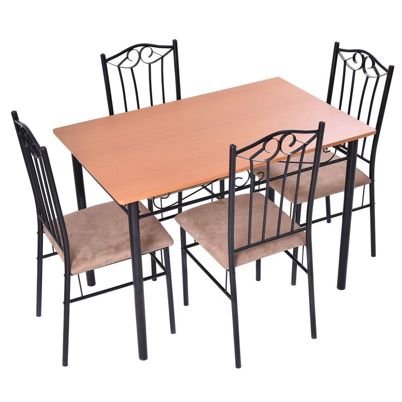Svitlife 5 PC Dining Set Wood Metal Table and 4 Chairs Kitchen Breakfast Furniture Kitchen Bar Breakfast Chair Set Stools Pub 2 Table Furniture Counter Stool