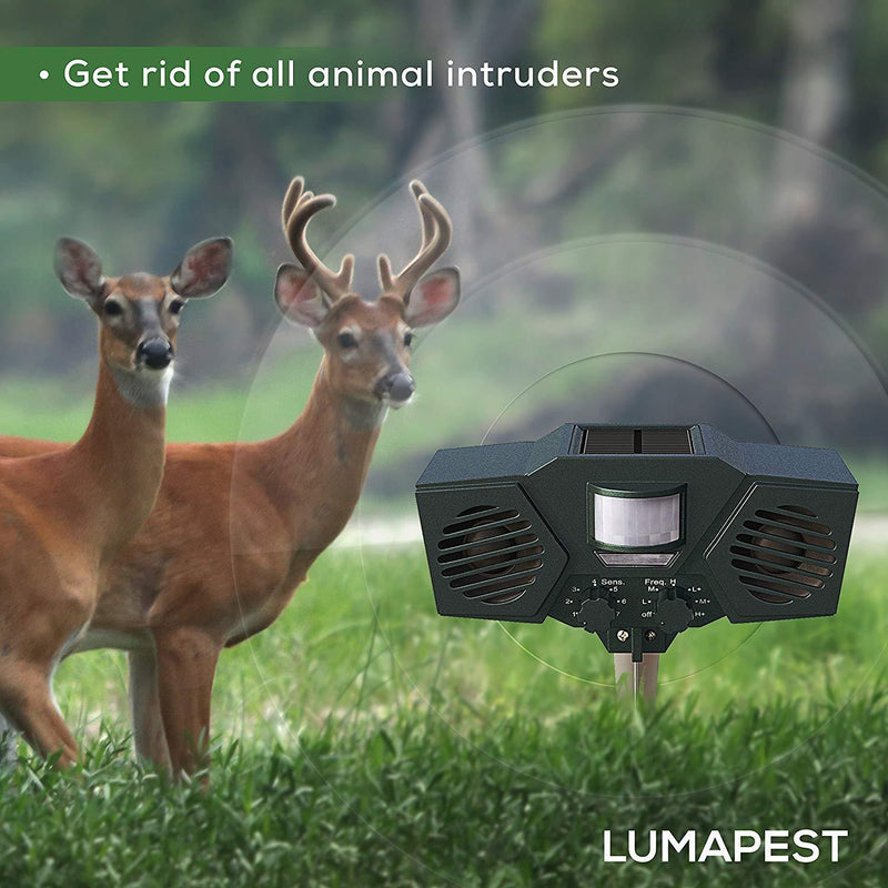 Lumapest Ultrasonic Outdoor Pest & Animal Repeller Upgraded Version - Solar Powered Motion Activated Sensor - Humane, Eco-Friendly - Effective Pest & Animal Management Without Traps or Chemicals