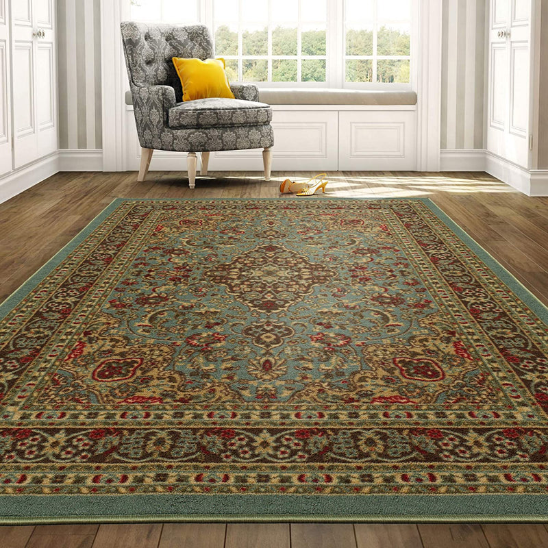 "Ottomanson Ottohome Collection Persian Heriz Oriental Design with Non-Skid (Non-Slip) Rubber Backing Area Rug,5'0""X6'6""., Sage Green/Aqua Blue"