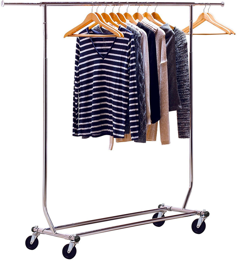 DecoBros Supreme Commercial Grade Double Rail Garment Rolling Rack, Chrome Finish