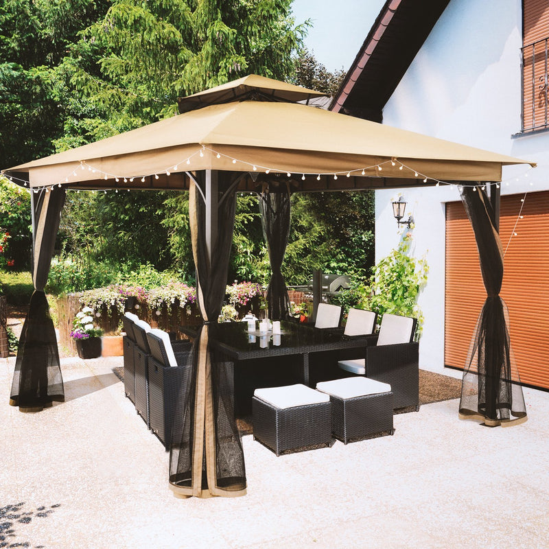SUNLONO 10 x 10 Ft Outdoor Fabric/Steel Gazebo 2-Tiered Top Canopy with Mosquito Netting Screen Walls, Beige