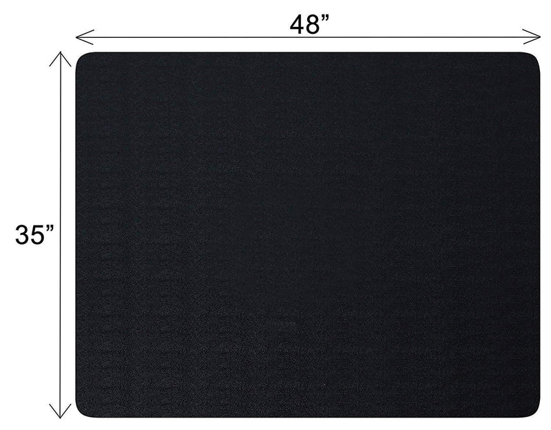 "Polytene Office Chair Mat, 48""x36"",Hard Floor Protection Only with Rectangular Shaped Clear Anti Slide Film on The Underside, and mat Finish on The top, 1.55mm, Black"