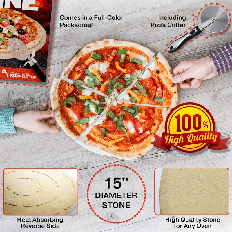 15'' Large Round Pizza Stone - Durable & Safe Thermarite - For Cooking & Baking Pizza & Bread at Home Oven, Grill or Outdoor - Bonus Professional Steel Pizza Cutter