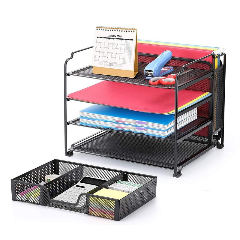 Simple Trending 4-Trays Mesh Office Supplies Desk Organizer, Desktop File Holder with Drawer Organizer and Vertical Upright Section for Office Home, Black