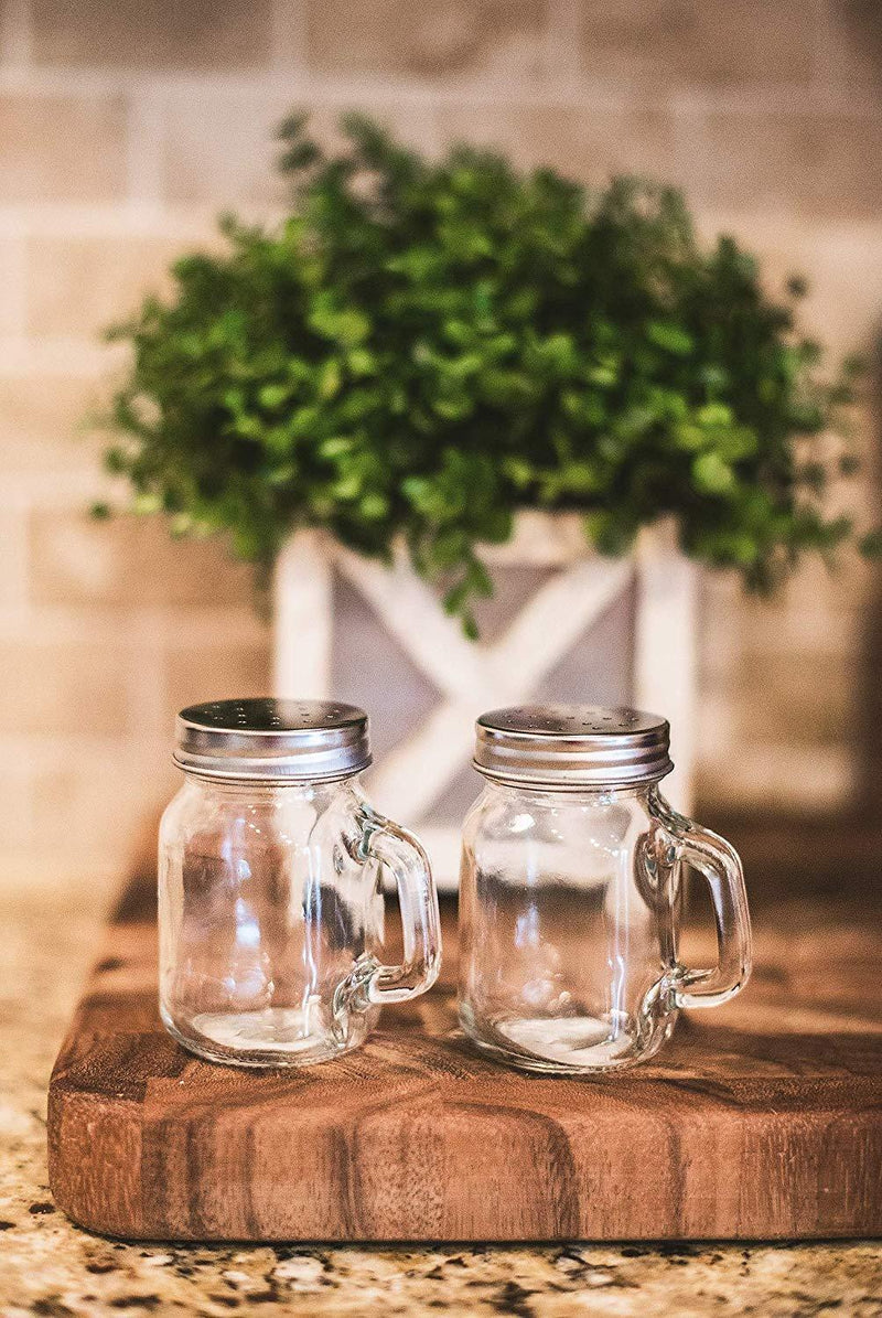 Clear glass Salt and Pepper shaker set | Glass Jar styled salt and pepper shakers with handle