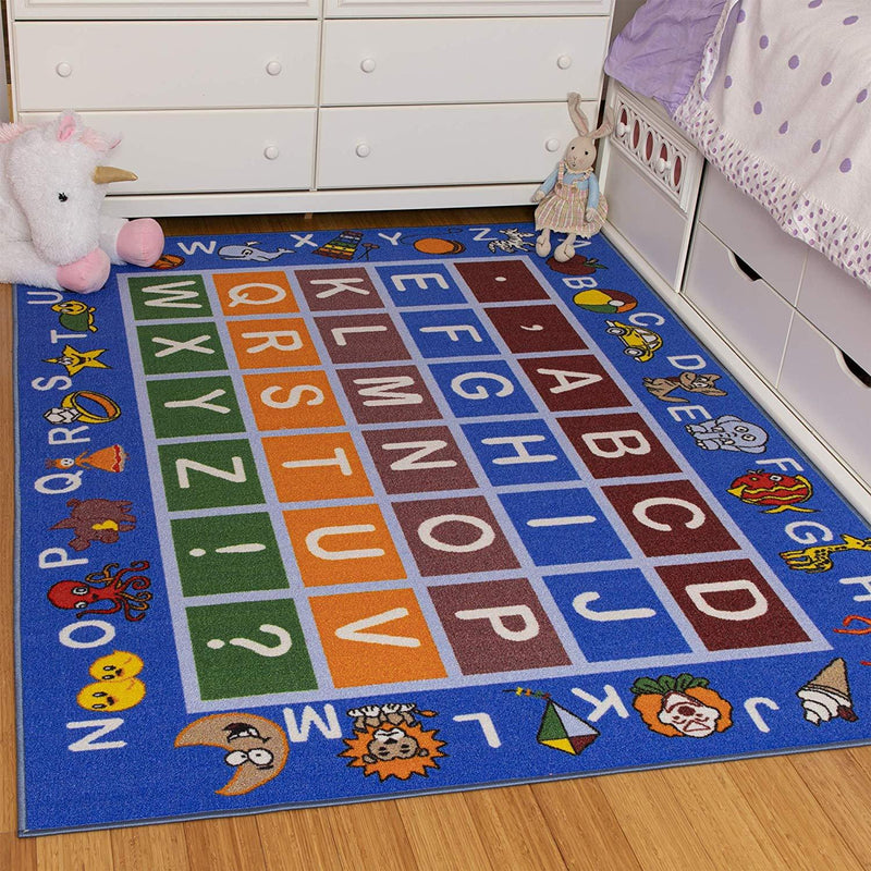 "Ottomanson Jenny Collection Light Blue Frame with Multi Colors Kids Children's Educational Alphabet (Non-Slip) Area Rug, Blue, 8'2"" x 9'10"""