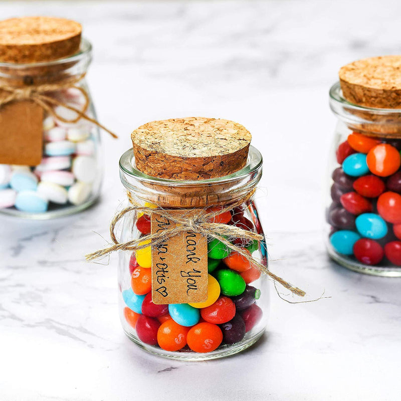 Glass Favor Jars With Cork Lids - Mason Jar Wedding Favors Apothecary Jars Honey Pot Bottles With Personalized Label Tags and String - 3.4oz [12pc Bulk Set] Ideal For Spices, Candy and Candle Making by Otis Classic