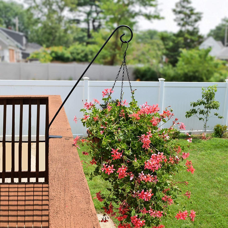GrayBunny GB-6830 Heavy Duty Deck Hook, Single Piece Solid Rod, No Assembly, 2 Inch Non-Slip Clamp, Black, for Bird Feeders, Planters, Suet Baskets, Lanterns, Wind Chimes, Potted Plants & More! by Gray Bunny