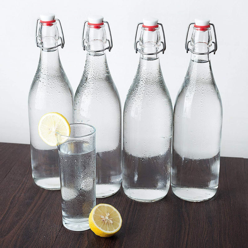 Swing Top Glass Bottles 32oz / 1 Litre - CERAMIC TOPS - Giara Glass Bottles With Stopper Caps - Flip Top Water Bottles - Clear [4pk Set] by Otis Classic