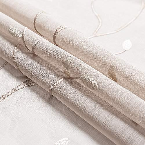 2 Panel Sheer Curtains White 84 inch Living Room Drapes Window Curtain Voile Sheers Linen Textured