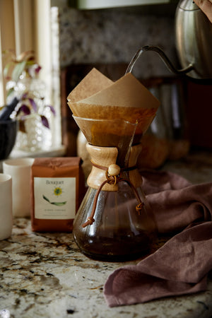 Brew Bouquet Coffee at home with your Chemex brewer. Handcrafted coffee & Tea.