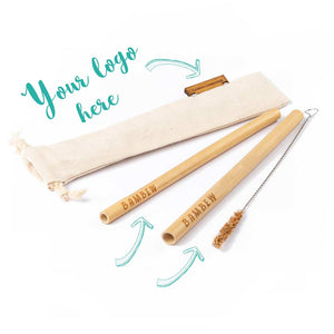 Drawstring Twin Bamboo Straw Travel Set
