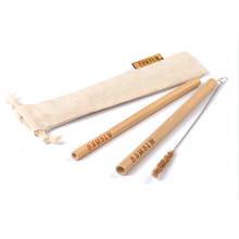 Drawstring Twin Bamboo Straw Travel Pack