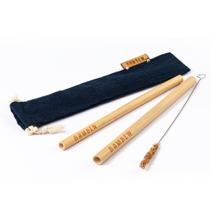 Drawstring Bamboo Straw Travel Set