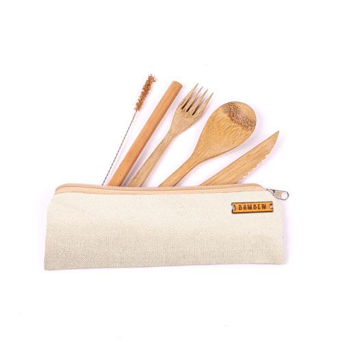 Bamboo Travel Utensil Set With Carrying Case