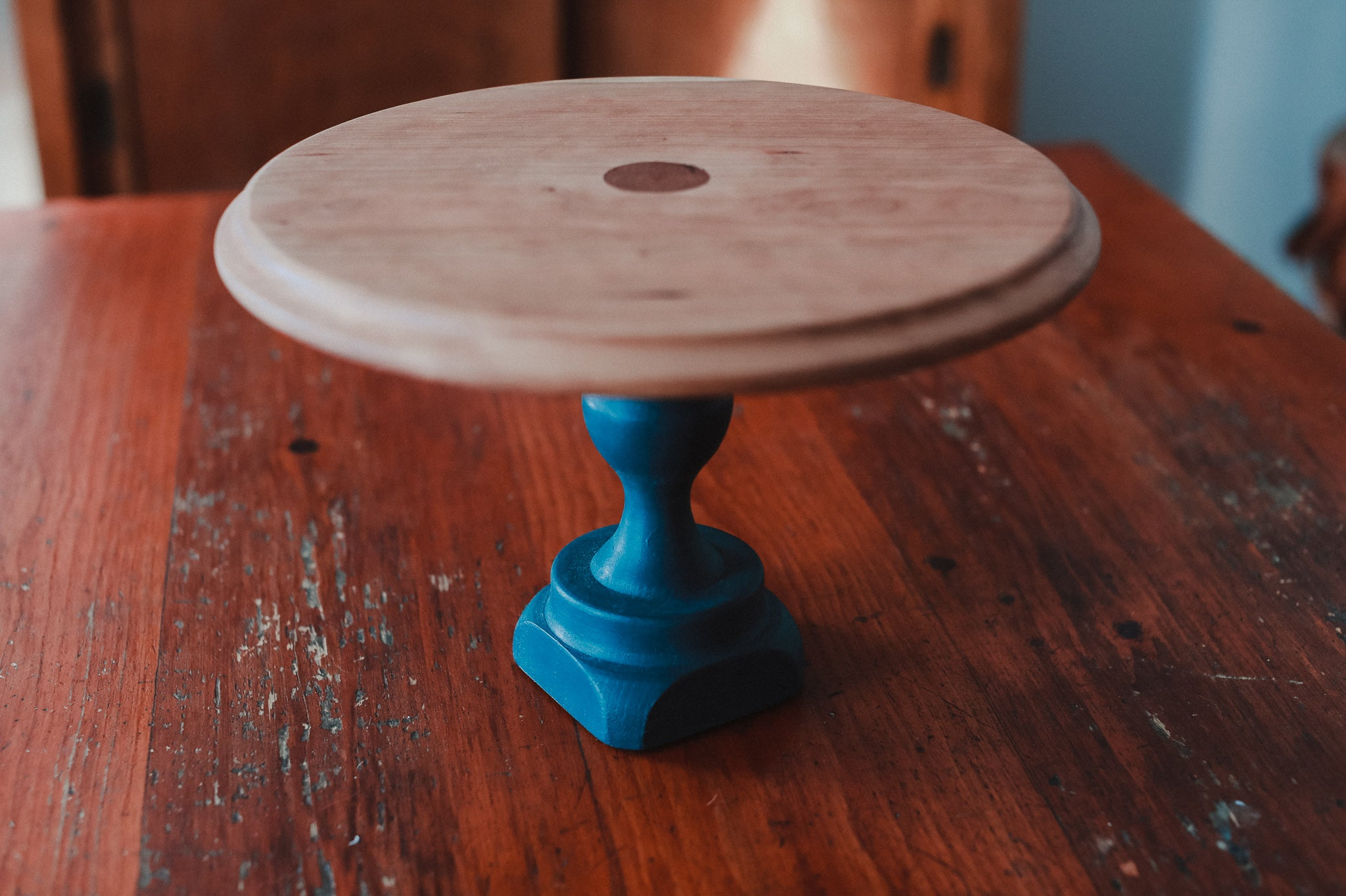 Deep Teal Wooden Cake Stand