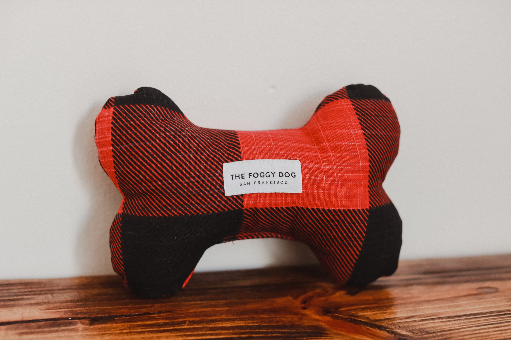 Red and Black Check Dog Bone Squeaky Toy