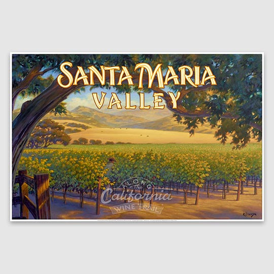 Santa Maria Valley AVA Giclée Poster Print on Paper or Canvas