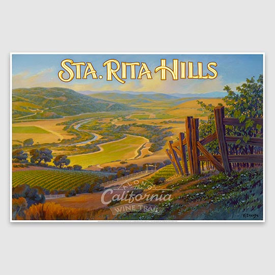 Sta. Rita Hills AVA Giclée Poster Print on Paper or Canvas