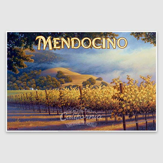 Mendocino Wine Country Poster print on Canvas